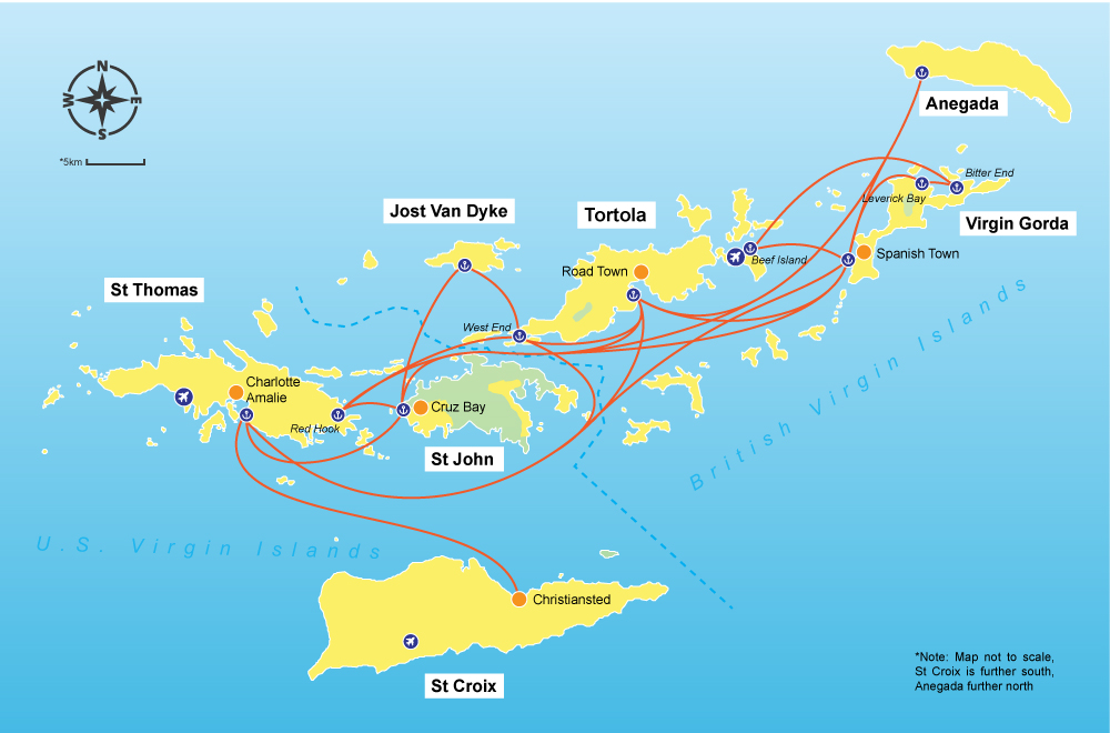 Virgin Islands ferry routes map